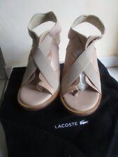 8a15ec001 Lacoste Sandal Highheel Ladies Leather Beige Size 38 New