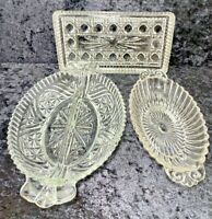 Lot of 3 Vintage Pressed Glass Clear Butter Relish Dish Nut Candy Serving Pieces