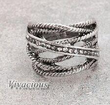 Stunning Vintage Silver Plated Rhinestone Finger Ring