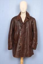 SUPERBE Vintage 1940 S Horsehide Leather Pea Voiture Manteau Veste Taille Large/XLarge
