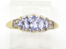 Round Diamond Right Hand Ring .54ct 10k Yellow Gold Marquise Iolite and