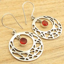 "Red Carnelian Royal Earrings 2"" Silver Plated Fashion Jewelry !"
