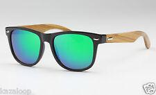 Bamboo Dark Wood Temples Square Mens Womens Sunglasses UV400