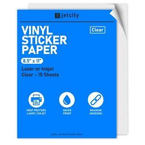 Clear Vinyl Sticker/Label Paper for Inkjet & Laser Printers - 15 Clear - 8.5x11