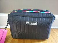 Betsey Johnson Cosmetic Bag Make Up Bag Double Zip Rainbow Black TBJ 0385 NEW