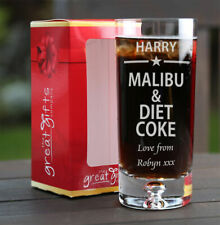Personalised Boxed Malibu & Diet Coke Glass Gift Birthday Christmas Present Star