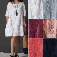 Women's  A-line Maxi Dress Half Sleeve Loose Cotton Linen Summer Dress Plus Size