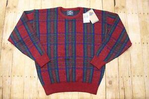 New Men's L Vintage Jantzen Red Plaid Sweater chrsitmas Crewneck pullover knit