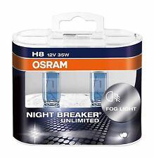 2 x Bombillas Osram Night Breaker Unlimited H8 Faros Halogeno Lamparas Luz Coche