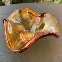 VTG Silvestri Arte Murano Millefiori Lavorazione Amber Bowl Crystal Glass Dish