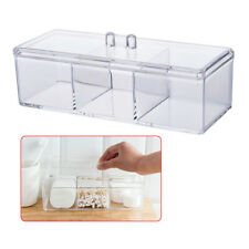 Acrylic Brush Holder 3 Slot Cosmetic Organizer Makeup Case Storage Box Stand&Lid