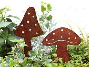 2er SET Herbstdeko Gartendeko Herbst Dekoration Pilz Pilze Rost Garten Stecker