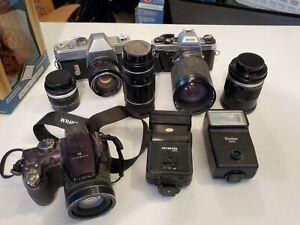 Lot Vtg Cameras Lenses Accessories ~ Mamiya Pentax Fujifilm Vivitar UNTESTED