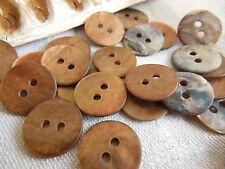 lot 12 boutons en NACRE marron cuivré lumineux mat diamètre: 1,3 cm  ref 1995