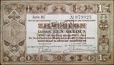 Netherlands banknote - 1 gulden (guilder) - year 1938 - zilverbon -free shipping