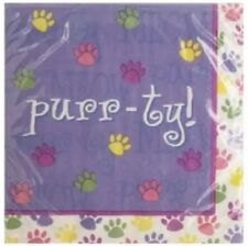 18 Count Purple Purr-ty Napkins Cat Paw Print Themed Luncheon Party Kitten 2-Ply