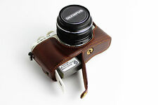 Coffee Leather Half Camera Case Bag Cover for Olympus E-PL7 Bottom opening EPL7