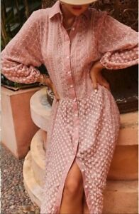 ZARA PINK OVERSIZED CONTRAST EMBROIDERY MIDI DRESS WITH LONG BALLOON SLEEVES