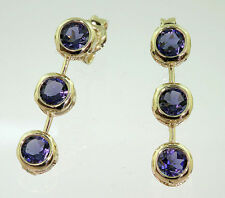 Woman's 14k Yellow Gold Iolite 3-Stone Drop Stud Earrings