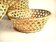 Set of 5 Vintage wicker planters, plant pots, Woven Plant Baskets