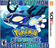 Legit Unlocked Pokemon Alpha Sapphire All 721 Shiny w/ Max Items Nintendo 3Ds