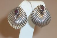 Sterling Silver Shell Design Red Gemstone Clip on Earrings