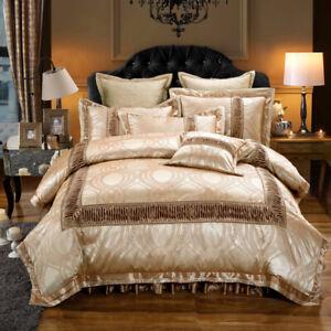 6pcs. Luxury Palace Blue & Dark Tan Queen King Duvet Cover 600TC Bedding Set