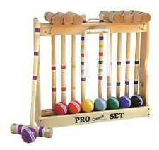 "8-Player Croquet Set with 32"" Handles in Wooden Rack - Amish Made"