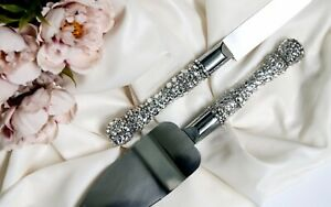 Crystal Cake Server Set for Wedding Engraved Cake Cutting Set Cake knife set
