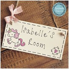 Girls Name Plaque Door Nursery Bed Playroom Sign Gift Baby Unicorn Personalised
