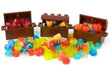 LEGO Treasure Chest x3 + 35 jewels gold coins goblets brown trunk pirate castle+
