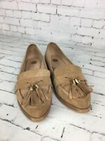 River Island Women's Beige Patent Flat Loafer Shoes With Tassels - Size 5