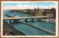 OSWEGO NEW YORK NEW BRIDGE AND HARBOS ENTRANCE POSTCARD 687