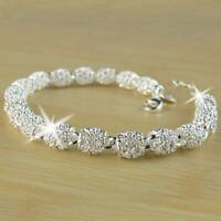 Fashion Women's 925 Silver Charm Chain Bangle Bracelet Wedding Jewelry Xmas Gift