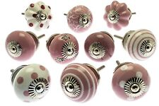 10 x Mixed Pink Shabby Chic Ceramic Cupboard Knobs Drawer Pull Kitchen (MG-202)