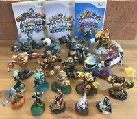 Wii Skylanders lot 3 games 19 figures portal bag Giants Swap Force Trap Team