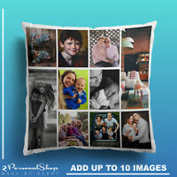 Personalised Photo Pillowcase Cushion Pillow Insert Custom Present Up to 10 Pics
