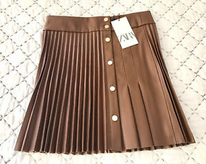 Zara Pleated Faux Leather Snap Metal Buttoned Skirt In Whisky M BNWT LAST ONE