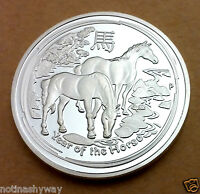 China Year of the Horse Silver Coin Good Luck Chinese Zodiac Astology New Dragon
