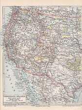 Amerika USA Weststküste Kalifornien LANDKARTE 1897 Texas Indianer Reservate