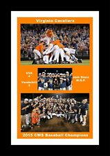 VIRGINIA CAVALIERS WINS 2015 BASEBALL CWS MATTED PIC OF DOGPILE CELEBRATION&TEAM