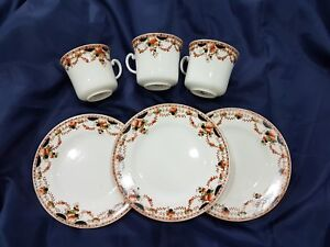 Antique Osborne China plates and cups  in the Jewel pattern