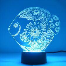Floral Flower Fish Colour Changing LED Mini Acrylic Light