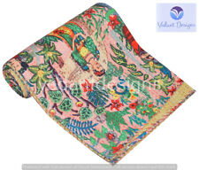 Indian Embroidery Kantha Quilt Bedspread Floral Throw Cotton Beige