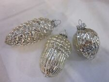 SET 9 SILVER VINTAGE BLOWN MERCURY GLASS ACORN PINECONE NUTS CHRISTMAS ORNAMENTS
