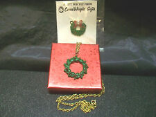 2 Goldtone Christmas Wreath Necklace & Brooch Pin Rhinestone Vtg Costume Jewelry