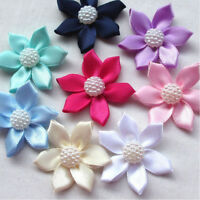 6/20/40PCS Satin Ribbon Flower with Pearl Bead Appliques~Craft/Trim