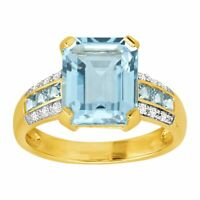 Simulated Aquamarine & CZ Ring in 14K Gold-Plated Sterling Silver