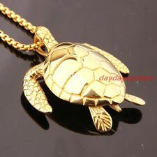 Chain Stainless Steel Mens Womens Necklace Cool Gold Plated Sea Turtle Pendant