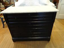 Vintage 3 drawer wood dresser with marble top painted black chest of drawers